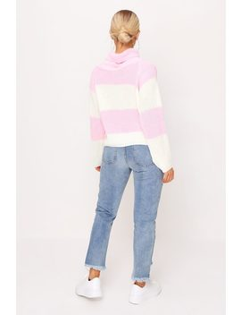 Dusky Pink Thick Stripe Knitted Roll Neck Jumper by I Saw It First