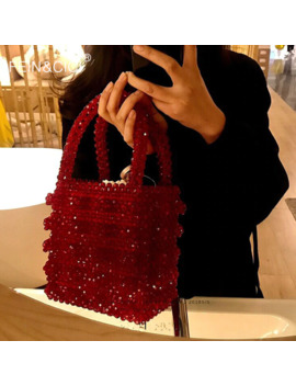 Pearls Bag Acrylic Crystal Clear Beaded Box Totes Bag Women Retro Party Handbag Red 2019 Summer Vintage Brand Wholesale by Ali Express.Com