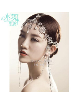 Korean Crystal Head Chain Tassel Frontlet Bridal Hair Accessories Wedding Hair Jewelry Soft Chain Wholesale by Ali Express.Com