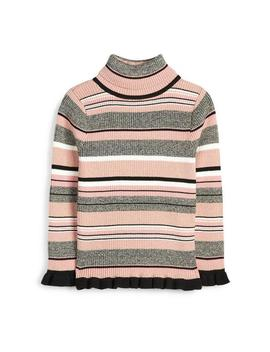 Younger Girl Pink And Grey Shimmery Roll Neck Jumper by Primark