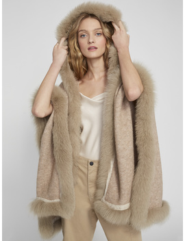 Kamala Hooded Poncho With Fur by Alice And Olivia
