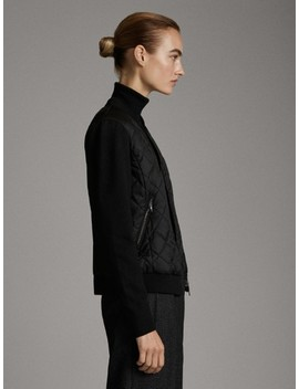 Puffer Jacket With Contrast Knit Sleeves by Massimo Dutti