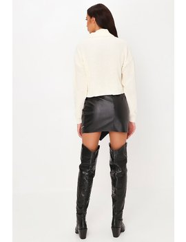 Cream Roll Neck Cropped Knitted Jumper by I Saw It First