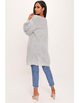 Grey Balloon Sleeve Knitted Cardigan by I Saw It First