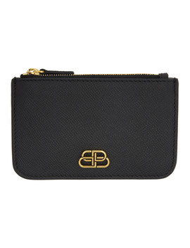 Black Bb Zip Keychain Wallet by Balenciaga