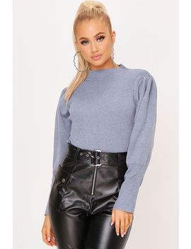 Grey Puff Sleeve High Neck Knitted Jumper by I Saw It First