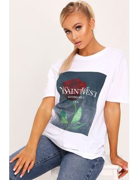 White Ye Saint West Rose Print Oversized Tshirt by I Saw It First