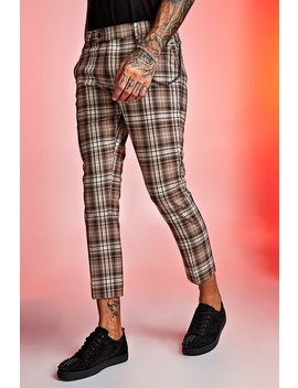 Tartan Cropped Trouser With Chain Detail by Boohoo