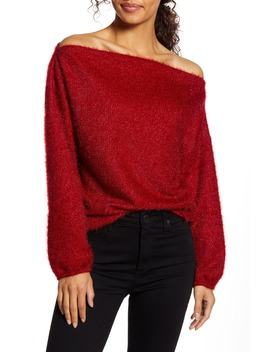 X Glam Blushing Rose Anna Off The Shoulder Soft Holiday Sweater by Gibson