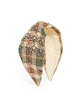 Embellished Plaid Headband by Namjosh