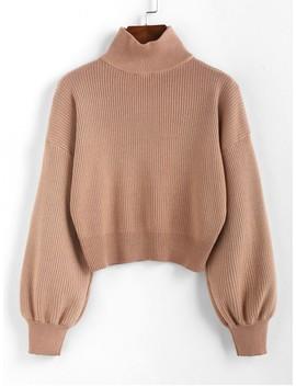 Hot Salezaful High Neck Drop Shoulder Plain Sweater   Light Brown S by Zaful