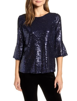 X Glam Living In Yellow Bell Sleeve Sequin Top by Gibson
