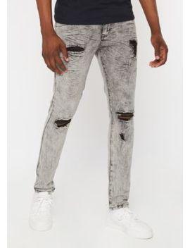 Supreme Flex Gray Acid Wash Distressed Skinny Jeans by Rue21