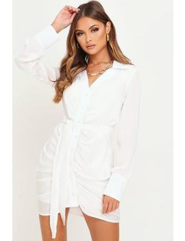 White Ruched Front Satin Shirt Dress by I Saw It First