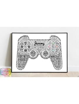 Personalised Video Gaming Controller Word Art Print Or Card Your Words And Colours Perfect For Gamers Birthdays And Rooms! by Etsy