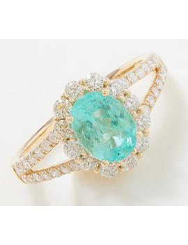 Paraiba Tourmaline & Diamond Ring, 1.20 Cttw, 18 K Gold by Qvc