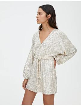 Серебристое мини платье с пайетками by Pull & Bear