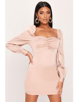Champagne Satin Puff Sleeve Button Detail Bodycon Dress by I Saw It First