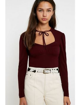 Uo Cut Out Tie Front Top by Urban Outfitters