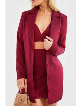 Fashion Influx Wine Single Breasted Longline Blazer by In The Style