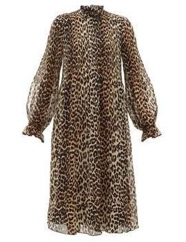Leopard Print Plissé Georgette Dress by Ganni