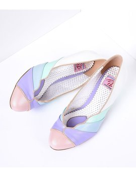 Multicolor Faux Leather Scalloped Kitten Heel by Unique Vintage
