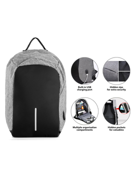 Anti Theft Backpack With Usb Charging Port   Grey by Milano