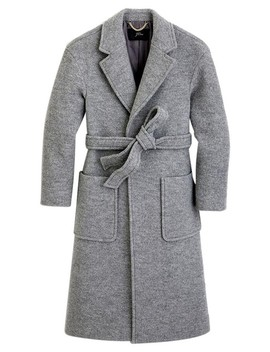 Gray  Wrap Italian Boiled Wool Coat by J.Crew