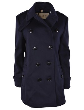 Blue New Wool Needlethorpe Pleated Jacket Coat by Burberry Brit