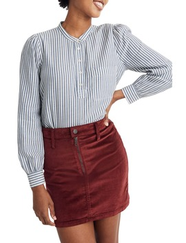 Puff Sleeve Railroad Stripe Popover Shirt by Madewell