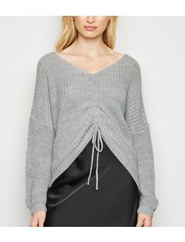 Cameo Rose Grey Ruched Front Jumper by New Look