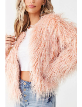 Metallic Shaggy Faux Fur Jacket by Forever 21