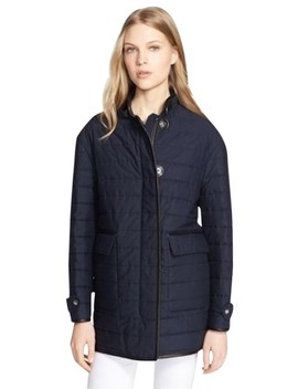 Navy Womens Leather Trim Quilted Cotton Jacket Large Coat by Burberry