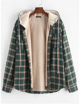 Plaid Chest Pocket Fleece Drawstring Hooded Jacket   Medium Sea Green L by Zaful