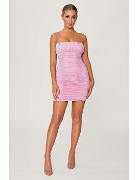 Celena Ruched Thin Strap Mini Dress   Pink by Meshki