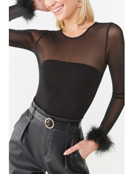Faux Feather Trim Mesh Bodysuit by Forever 21