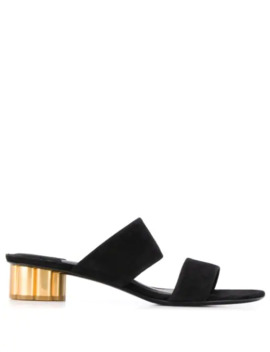 Two Banded Flower Heel Sandals by Salvatore Ferragamo
