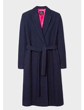 Women's Navy Wool Blend Wrap Coat by Paul Smith