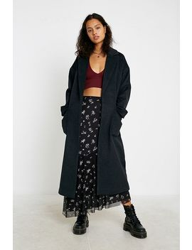 Uo Chuck On Navy Longline Duster Coat by Urban Outfitters