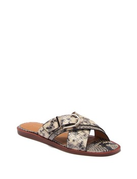 Panther Snake Embossed Leather Slide Sandal by Joie