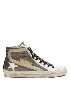 Slide Metallic Leather Trainers by Golden Goose