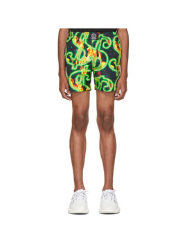 Black & Green Fire Dollar Shorts by Sss World Corp