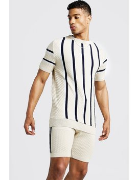 Striped Knitted T Shirt & Short Set by Boohoo