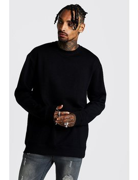 Longline Crew Neck Fleece Sweatshirt by Boohoo