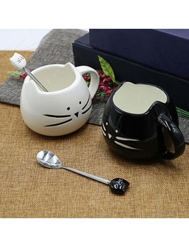 Cute Stainless Steel Cartoon Cat Ceramic Spoons Ice Cream Sugar Tea Dessert Soup Spoons Kitchen Dinnerware by Wish