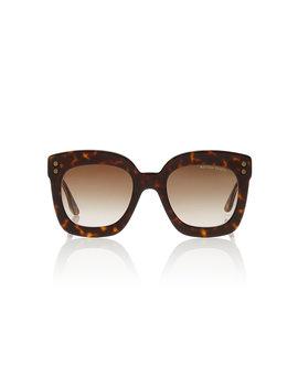 Tortoiseshell Square Frame Acetate Sunglasses by Bottega Veneta