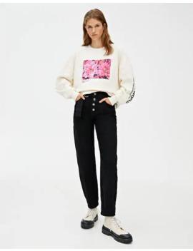 Sweatshirt Med Blomillustration by Pull & Bear
