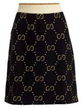 Gg Jacquard Knit Wool A Line Skirt by Gucci