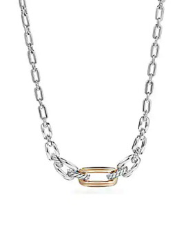 Wellesley Sterling Silver & 18 K Yellow Gold Chain Link Station Necklace by David Yurman