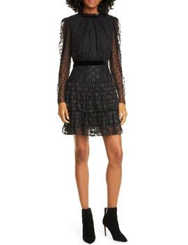 Ava Jacquard Dot Long Sleeve Minidress by Saloni